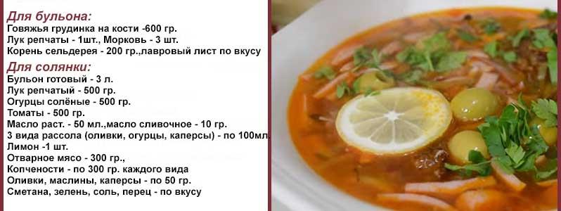 рецепт сборной солянки с колбасой и оливками и лимоном пошаговый